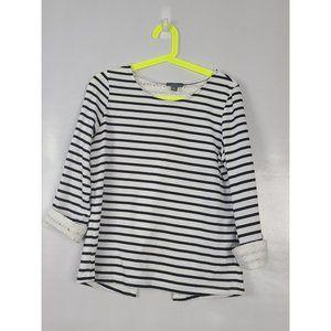 Market & Spruce Black White Stripe Lace Insert Top